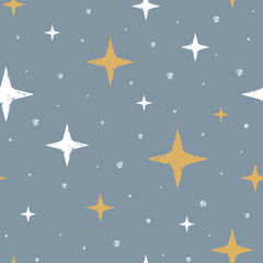 Cute scandinavian seamless pattern with hand drawn stars. Stamp textured background. Vector illustration for design and print.
