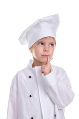 Smart serious girl chef white uniform isolated on white background, holding a pointing finger near the lips angle. Portrait image
