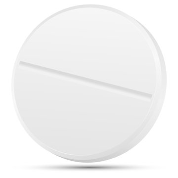 Realistic 3d white medical pill closeup, isolated on white background. Vector