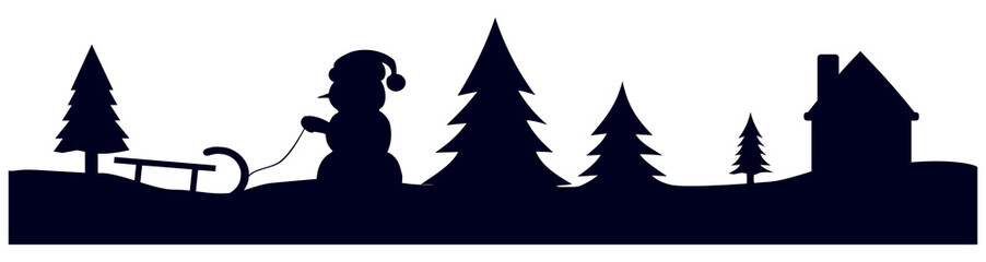 black winter landscape christmas silhouette isolated