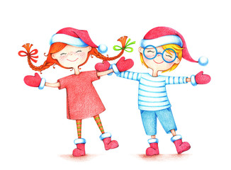 hand drawn picture of two children dancing in red Santa hats, boots and mittens  by the color pencils on white background. Christmas illustration of happy couple
