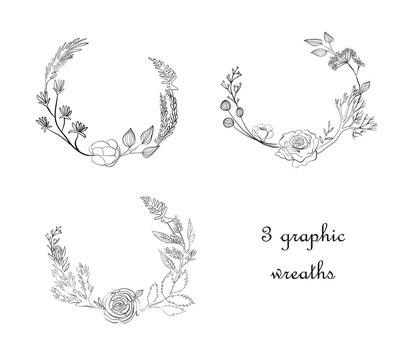 Graphic wreaths with flowers and plants on white isolated background