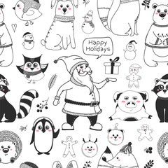 Seamless pattern with animals and different christmas elements. Vector illustration in sketch style