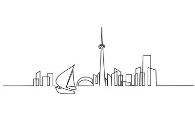 Building cityscape sail boat silhouette line art