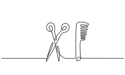Scissors and comb business icon. Continuous line