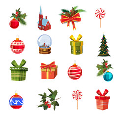 Christmas set with pine branches, decorations, candies, ribbons, boxes of gifts, cnow globe, pine, Christmas balls. Realistic, flimsy vector elements for design of greeting cards, banners, isolated