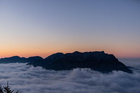 Sunset over mount pilatus