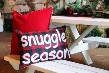 Christmas cushion that say snuggle season.