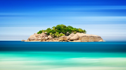 Tropical island in ocean - vacation background, Long exposure, blur motion, Seychelles