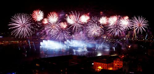 Fireworks explode during Latvia's centenary celebration in Riga