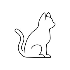 vector, isolated outline of a cat on a white background