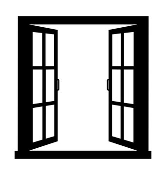 Open window on white background vector