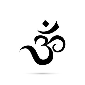 Om vector sign and sacred sound symbol in yoga.