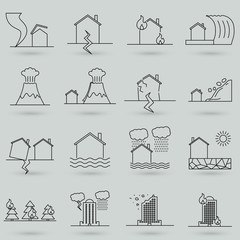 Natural Disaster, Vector illustration of thin line icons set