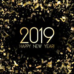 2019 Happy New Year card with gold confetti.