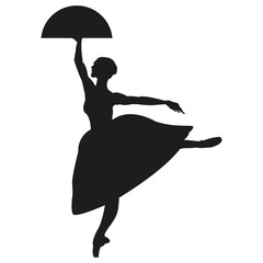 Silhouette of a dancing ballerina. Isolated background, white .sketch , vector grace .