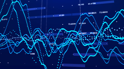Stock market graph. Big data visualization. investment graph concept. 3d rendering.
