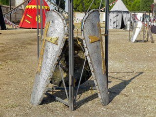 shields on a medieval military camp
