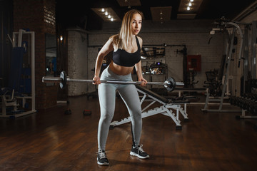 Young woman lifting barbell with light weights at gym. Fitness female doing crossfit workout