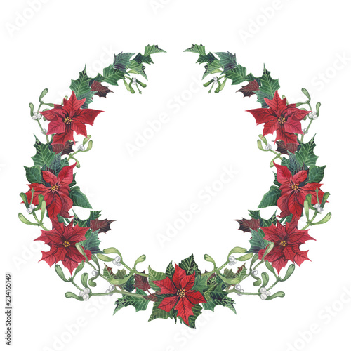 Watercolor Christmas Wreath With Holly Mistletoe And Poinsettia