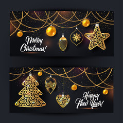 Vector banners illustration of christmas background with christmas ball star snowflake confetti gold on black color.