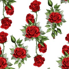 Red rose flower bouquet spreads creeper elements seamless pattern isolated white