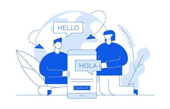 Vector flat line translation design concept of  big modern people, holding smartphone with word Hello in spanish. Trendy language courses, translation agency illustration with earth globe and leaves.