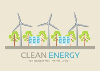 Ecology technology in flat design background concept. Eco clean energy around green tree for protect nature. Icons for your product or illustration, web and mobile applications.