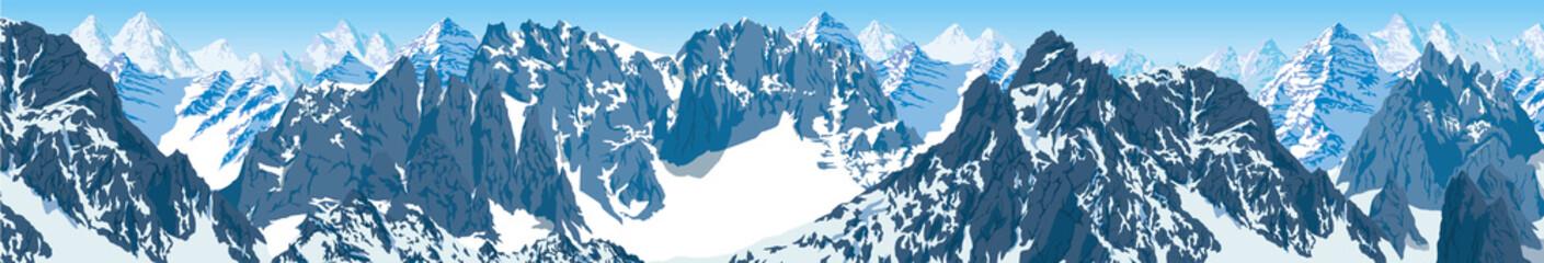 vector karakoram himalayan panorama Wall mural