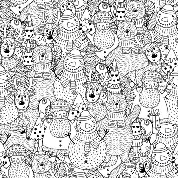 Christmas black and white seamless pattern. Great for coloring page, background, textile and fabric. Vector illustration