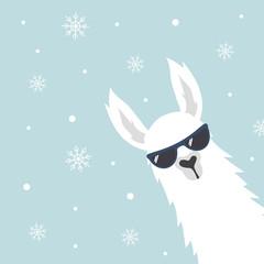 Christmas card with llama