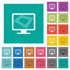 Screen saver on monitor square flat multi colored icons