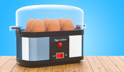 Egg cooker or egg boiler with eggs on the wooden table. 3D rendering
