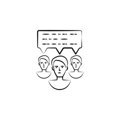 communication, message hand drawn icon. Outline symbol design from business set