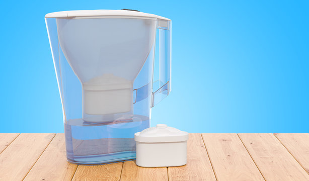 Pitcher water filter with cartridge on the wooden table. 3D rendering