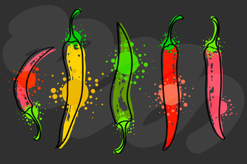 Watercolor colorful vegetables set red chili pepper, close-up isolated on black background.