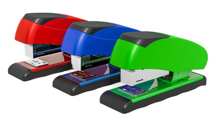 Set of colored staplers, 3D rendering
