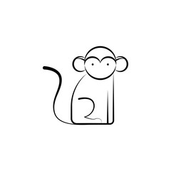 Monkey, Animal icon. Element of biology icon for mobile concept and web apps. Hand drawn Monkey, Animal icon can be used for web and mobile