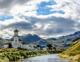 Russian Orthodox Holy Ascension of Our Lord Cathedral and Graveyard in Dutch Harbor Unalaska