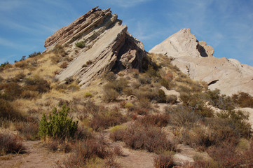 Unusual angled rock formation at Vazquez Rocks California