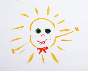 Colorful children painting of beautiful sun on white background