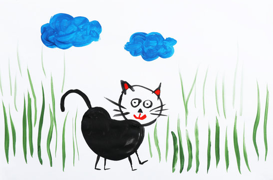 Colorful children painting of black cat on white background