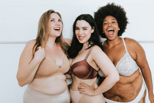 Diverse women embracing their natural bodies