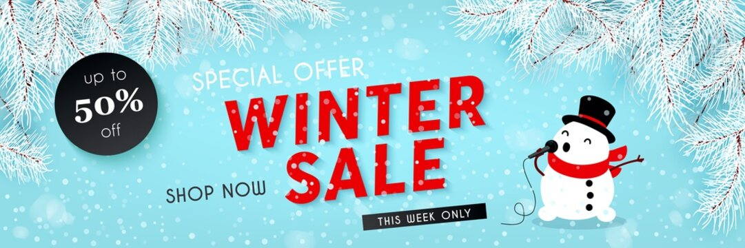 Winter sale, seasonal horizontal banner with snowman, snowfall, snow, vector