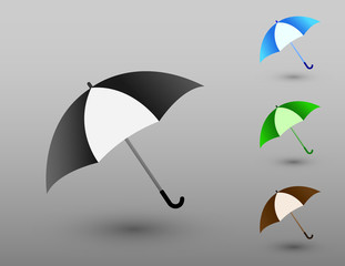A set of colorful simple umbrellas to protect from rainy weather vector illustration