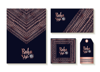 Wall Murals Boho Style Copper boho card template and label set