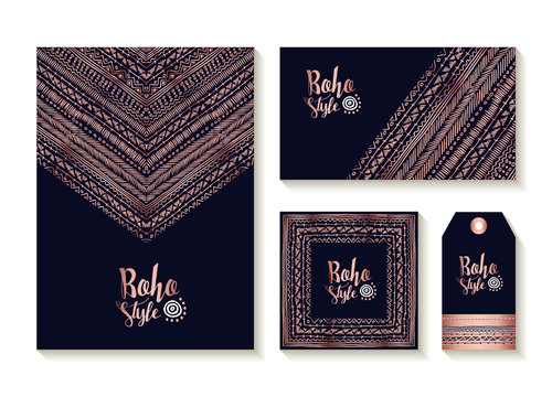 Copper boho card template and label set