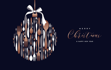 Christmas and New Year copper cutlery card