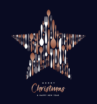 Christmas and New Year copper cutlery star card