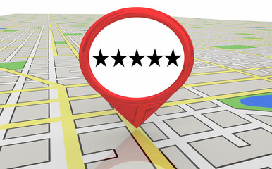 Five Star Review Recommendation Map Pin 3d Illustration